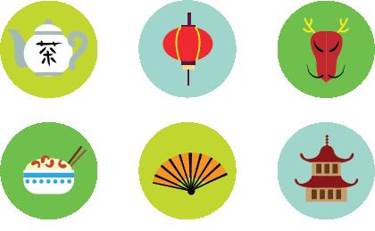 Ilustración de símbolos chinos