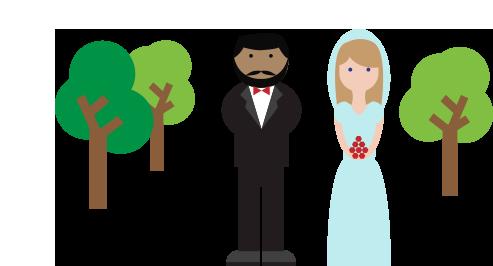 Ilustración de una pareja de casados