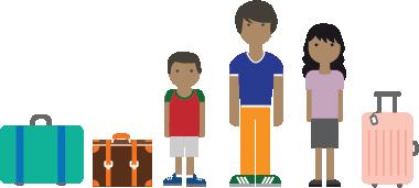 Ilustración de una familia inmigrante