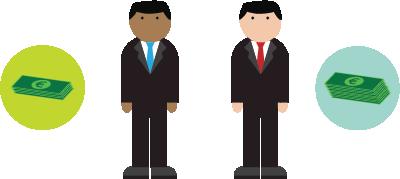 Ilustración sobre un par de hombres
