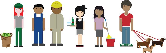 Ilustración scon algunos trabajadores