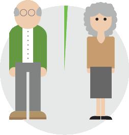 Ilustración de una pareja de ancianos