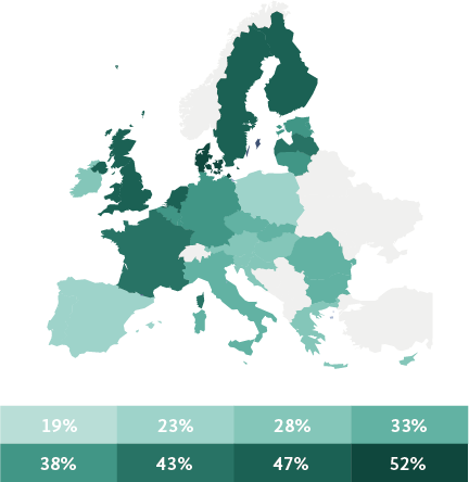 Gráfica violencia física o sexual hacia mujeres en Europa